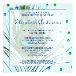 Glam Peacock Feather Teal Bridal Shower 5.25x5.25 Square Paper Invitation Card