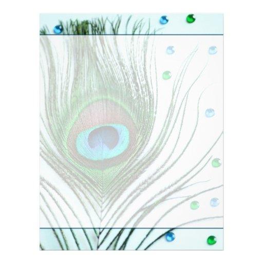 Glam Peacock Feather Teal Letterhead