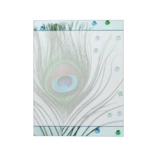 Glam Peacock Feather Teal Memo Pad