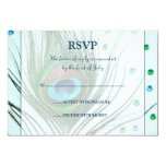 """Glam Peacock Feather Teal Response Card 3.5"""" X 5"""" Invitation Card"""
