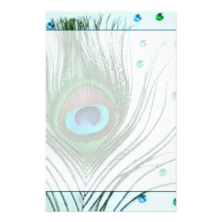 Glam Peacock Feather Teal Stationery