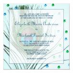 Glam Peacock Feather Teal Wedding Custom Invitations