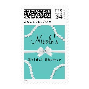 McTiffany Tiffany Aqua Glam Pearls & Bow Bling Elegant Chic Bridal Shower Postage