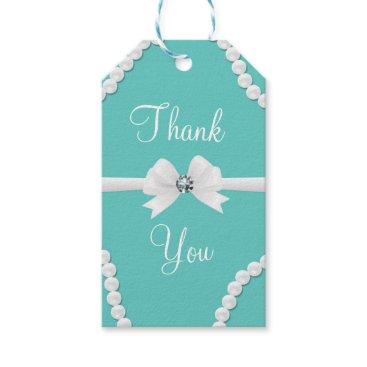 McTiffany Tiffany Aqua Glam Pearls & Bow Bling Elegant Chic Favor Gift Tags