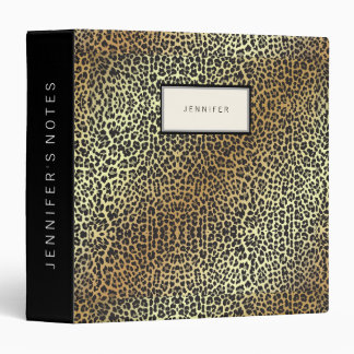 Glam Personalized Leopard Print and Gold Foil Binder