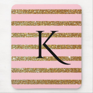Glam Pink and Gold Striped Monogrammed Mouse Pad