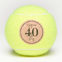 Glam Pink & Black Personalized 40 & Foxy Tennis Balls