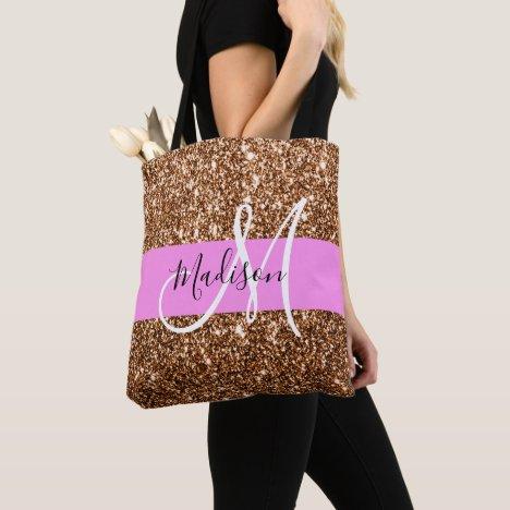 Glam Pink & Bronze Glitter Sparkles Monogram Name Tote Bag