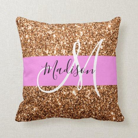 Glam Pink & Copper Glitter Sparkles Monogram Name Throw Pillow