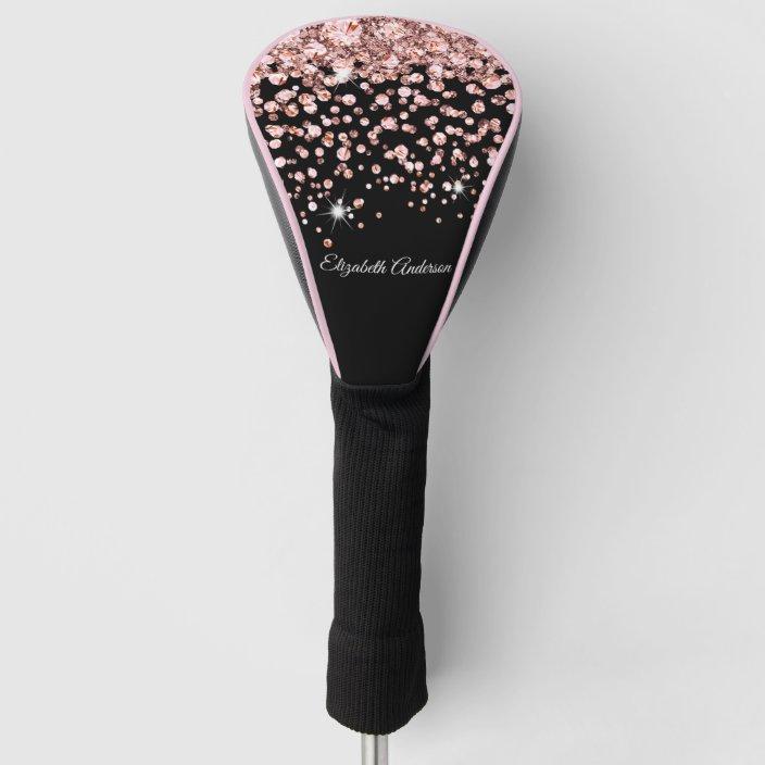 Glam Pink Diamond Jewel Confetti Personalized Golf Head Cover | Zazzle.com