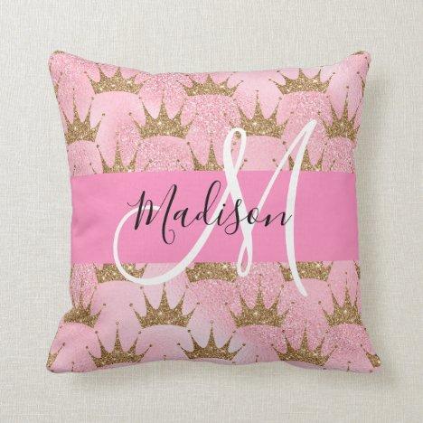 Glam Pink & Gold Glitter Sparkles Crowns Monogram Throw Pillow