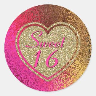 Glam Pink & Gold Sweet 16 Birthday Classic Round Sticker