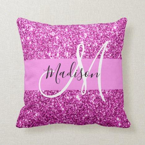 Glam Pink & Magenta Glitter Sparkle Monogram Name Throw Pillow