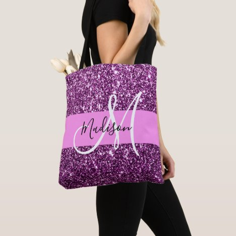 Glam Pink & Purple Glitter Sparkles Monogram Name Tote Bag