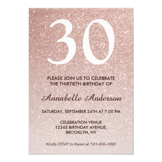 Glam Pink Rose Gold Glitter Sparkle 30th Birthday Invitation