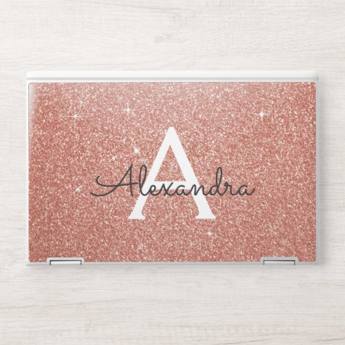 Glam Pink Rose Gold Glitter Sparkle Monogram HP Laptop Skin