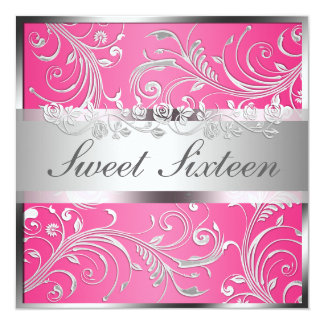 Glam Pink Silver Floral Pattern Sweet Sixteen Card