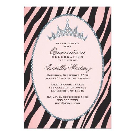 Glam Princess Tiara Zebra Pink Quinceanera Party Custom Invitation