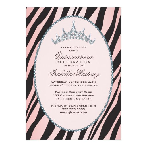 "Glam Princess Tiara Zebra Pink Quinceanera Party 5"" X 7"" Invitation Card"