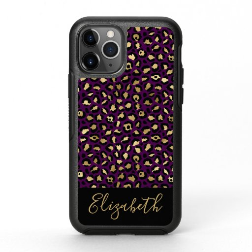 Glam Purple and Gold Leopard Print Personalized OtterBox Symmetry iPhone 11 Pro Case