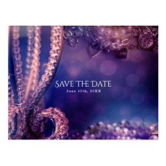 Glam Purple Glow Chic Glamour Pearls Save the Date Postcard