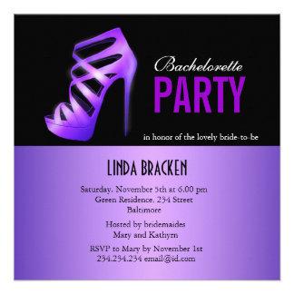 Glam Purple Pumps Black Bachelorette Party Card