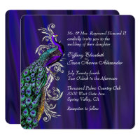 Glam Purple Satin and Peacock Wedding Invitation