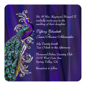 Glam Purple Satin and Peacock Wedding Invitation 5.25
