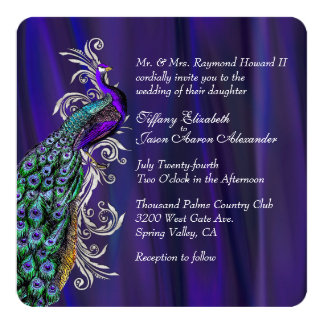 "Glam Purple Satin and Peacock Wedding Invitation 5.25"" Square Invitation Card"