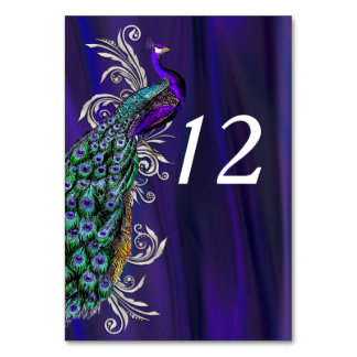 Glam Purple Satin Look Wedding Table Number Card Table Cards