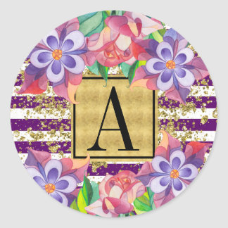 Glam Purple Stripes Gold Dust Floral Monogram Classic Round Sticker