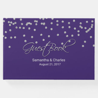 Glam Purple with Diamonds Wedding Guest Book