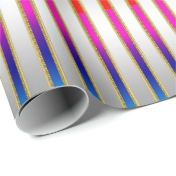 Glam Rainbow Stripes on Silver Background Wrapping Paper