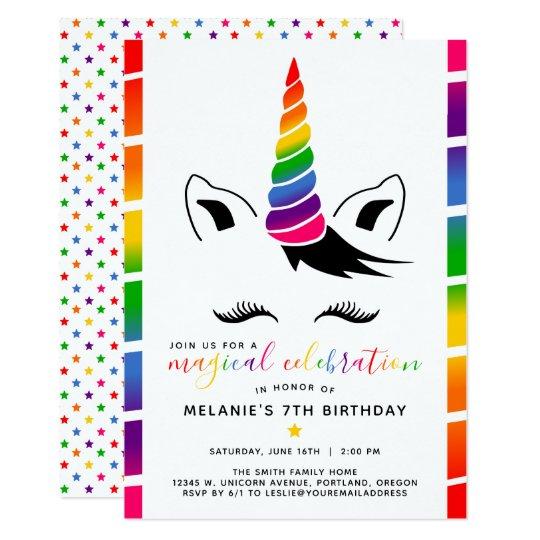 Glam Rainbow Unicorn Birthday Party Invitation Zazzle Com