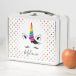 """Glam Rainbow Unicorn Metal Lunch Box<br><div class=""""desc"""">The Glam Rainbow Unicorn Metal Lunch Box designed by Enchantfancy Design Company features the outline of a unicorn&#39;s face complete with glamorous eyelashes, ears, a tuft of hair and a fabulous bright rainbow unicorn horn. A pattern of rainbow stars accent the background. Personalize with your choice of name! This joyful...</div>"""