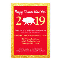 Glam Red Gold Glitter Chinese New Year 2019 Pig Invitation