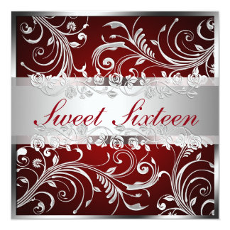 Glam Red Silver Floral Pattern Sweet Sixteen Card