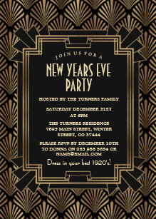 glam roaring 1920s great gatsby new years eve invitation