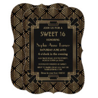 Glam Roaring 20's Great Gatsby Art Deco SWEET 16 Invitation
