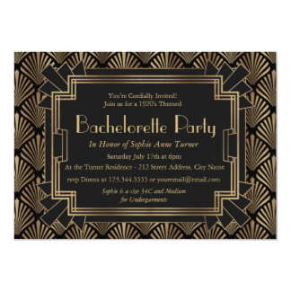 Glam Roaring 20's Great Gatsby Bachelorette Party Card