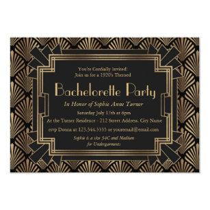 Vintage Great Gatsby Bachelorette Party Invitations Zazzle