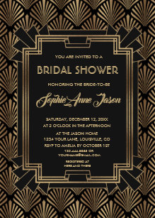 glam roaring 20s great gatsby bridal shower invitation
