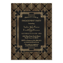 Glam Roaring 20's Great Gatsby Engagement Party Invitation