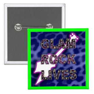glam rock 2 inch square button