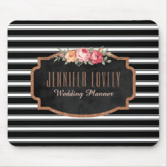 Glam Rose Gold Glitter Black Stripes  | Monogram Mouse Pad at Zazzle