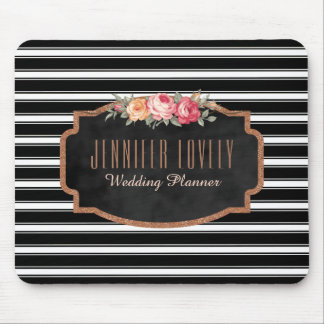 Glam Rose Gold Glitter Black Stripes  | Monogram Mouse Pad