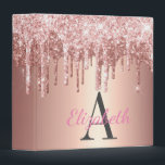 "Glam Rose Gold Glitter Drip Monogrammed 3 Ring Binder<br><div class=""desc"">Glam Rose Gold Gradient Faux Glitter Drip Monogrammed and Personalized 1.5 Inch Avery Binder.  Easy To Change The Monogram Initial and Name To Your Own.  Click Customize To Change The Font Type,  Font Color,  Font Size,  Or To Add/Delete/Change The Text Or Design Elements To Your Own.</div>"