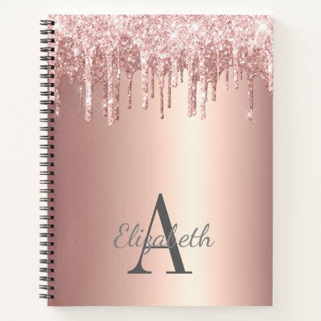 Glam Rose Gold Glitter Drip Monogrammed Notebook