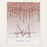 "Glam Rose Gold Glitter Drips Elegant Monogram 2021 Planner<br><div class=""desc"">Modern Glam Blush Pink Rose Gold Glitter Drips Girly Feminine Luxury Monogram Script Name 2021 Planner</div>"