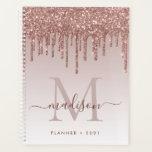 """Glam Rose Gold Glitter Drips Elegant Monogram 2021 Planner<br><div class=""""desc"""">Modern Glam Blush Pink Rose Gold Glitter Drips Girly Feminine Luxury Monogram Script Name 2021 Planner</div>"""